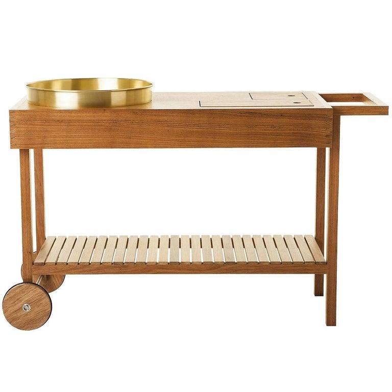 Bar Cart in Tropical Brazilian Hardwood, Contemporary Design For Sale
