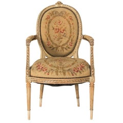 19th Century Aubusson Tapestry Upholstered Bergere Chair