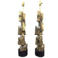 Brutalist Bronze Lamps by Laurel Maurizio Tempestini