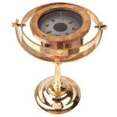Ship's Lifeboat Brass Compass on Custom Stand