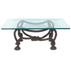Elegant Bronze Rope Coffee Table Base