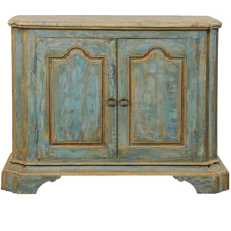 Custom Vintage Italian Style Two-Door Painted Wood American Buffet Console