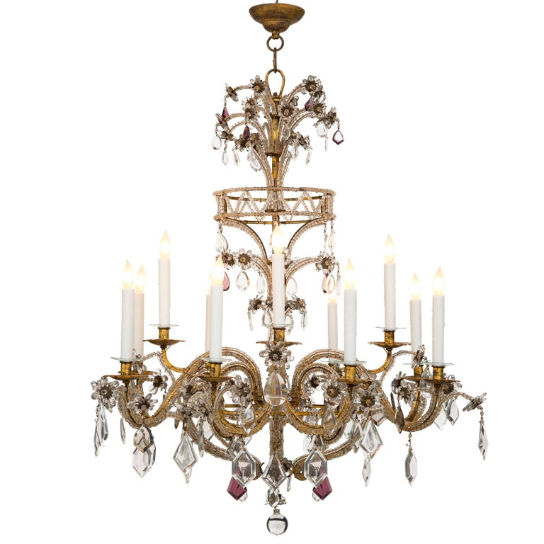 Italian, 19th Century Gilt Metal, Crystal and Glass Twelve-Arm Chandelier