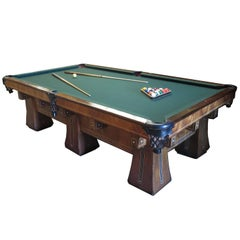 1915 Brunswick Arcade Pool Table with Rare Six-Legged Base