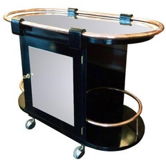 Italian Oval Trolley Bar, Black Lacquered Wood, Mirror and Copper, Italy, 1930