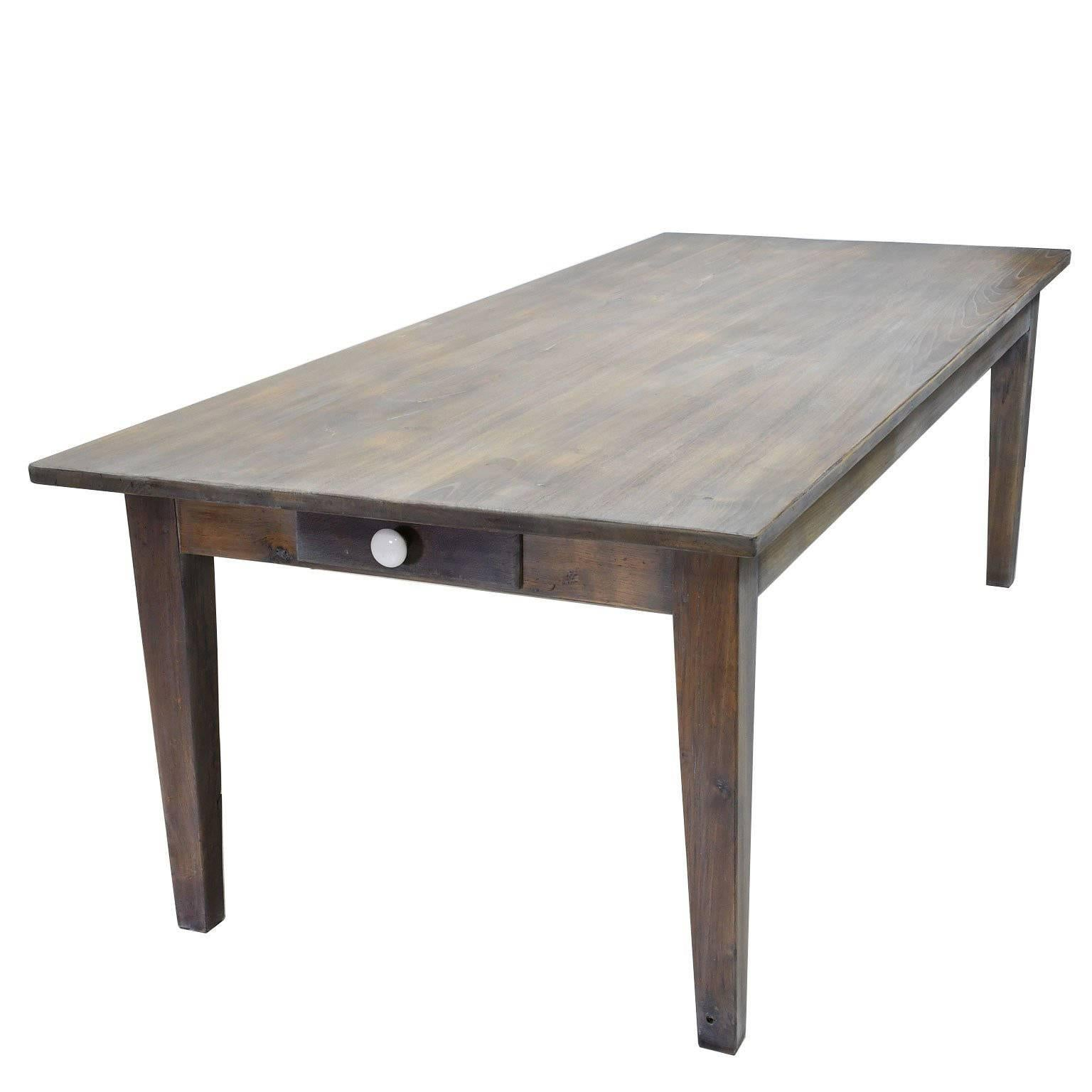 Beau 8u0027 Farmhouse Dining Or Kitchen Table In Re Purposed Oak With Fumed Taupe