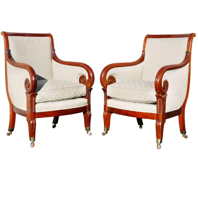Pair of Empire Style Mahogany Bergeres