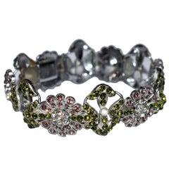 English 1930s Art Deco Ladies Colored Stone Bracelet