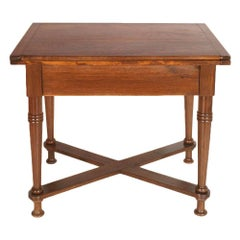 Late 19th Century Tyrolean Country Folding Table in Solid Oak Wood, Restored