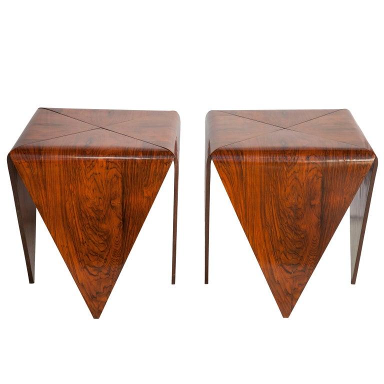 Jorge zalszupin brazilian mid century modern 39 petala 39 side tables in jacaranda for sale at 1stdibs - Brazilian mid century modern furniture ...