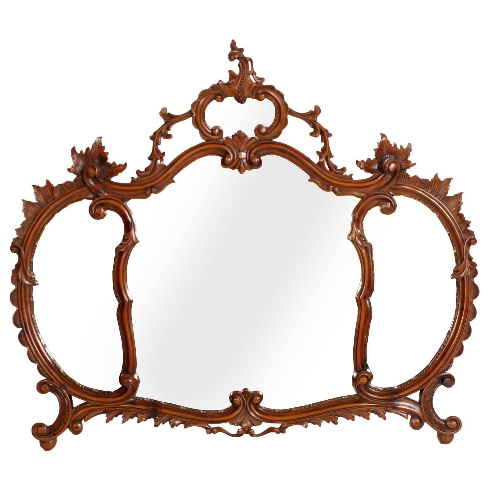 Early 20th Century Venetian Wall Mirror, Carved Walnut, Testolini Attributable