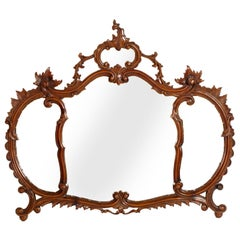 Early 20th Century Venetian Wall Mirror, Carved Walnut, Testolini Attributable