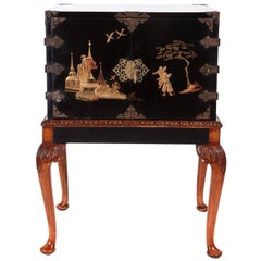 Antique Chinoiserie Lacquered Cabinet on Stand