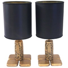Luciano Frigerio, Pair of Table Lamps, Bronze, Frigerio di Desio Production