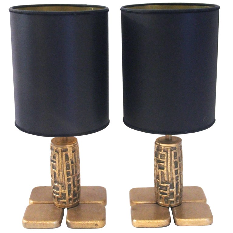 Luciano Frigerio, Pair of Table Lamps, Bronze, Frigerio di Desio Production For Sale