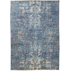 Contemporay Silk and Wool Rug, Abstract Design. with Blue and Gray