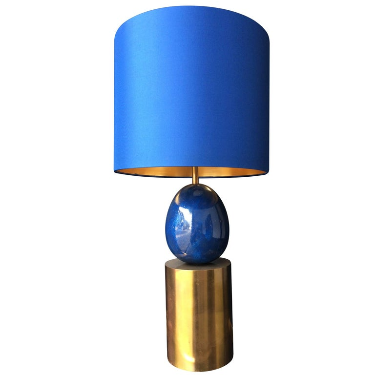 Maison Charles Brass and Blue Egg Lamp