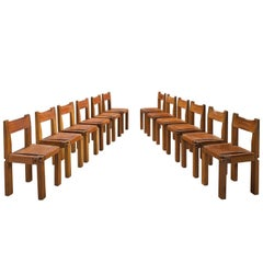 Pierre Chapo 12 Dining Chairs in Solid Elm and Cognac Leather