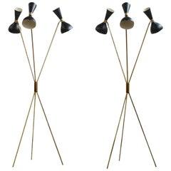Amazing Italian Minimalist Adjustable Tripod Floor Lamp Brass in Stilnovo Style