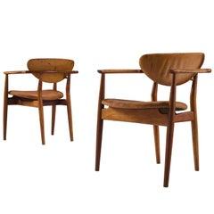 Finn Juhl 'FJ55' Mahogany and Leather Armchairs