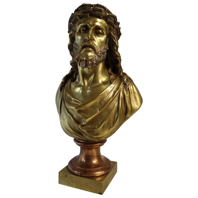 Jean Bulio Patinated Gilt Bronze Sculpture of Jesus Christ