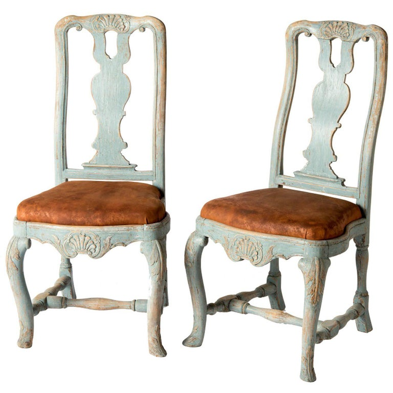 Pair of Early Blue Painted Rococo Side Chairs, circa 1750 For Sale