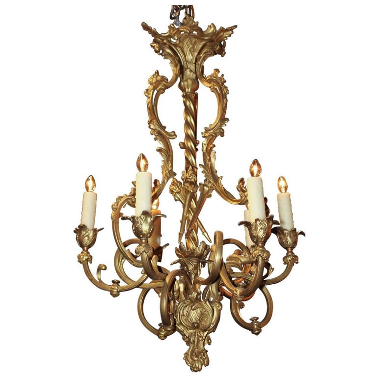 Antique French Gilded Bronze Ten-Light Chandelier, circa 1890