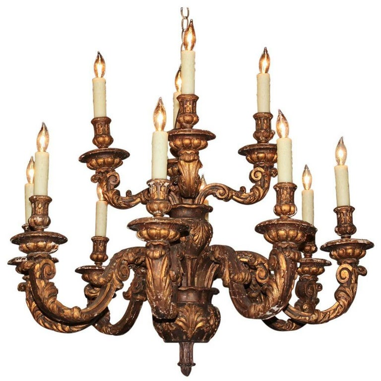 Antique French Carved Giltwood 12-Light Chandelier, circa 1860