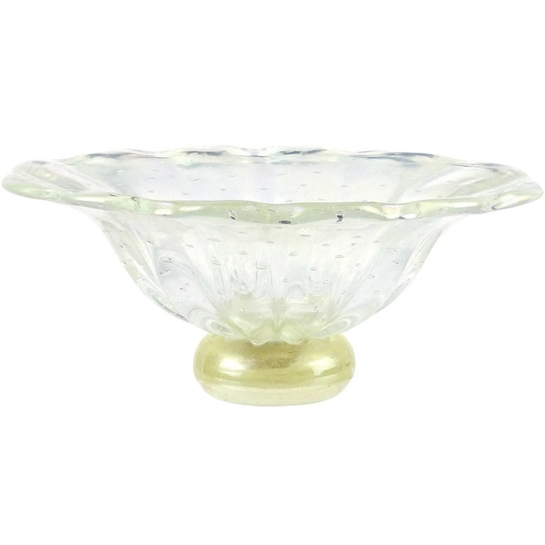 Barovier Toso Murano Iridescent Gold Flecks Italian Art Glass Centerpiece Bowl