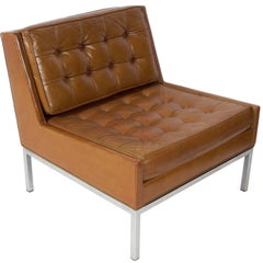 Original Cognac Leather and Chrome Slipper Chair by Dunbar