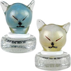 Barbini Murano Blue White Gold Flecks Italian Art Glass Kitty Cat Paperweights