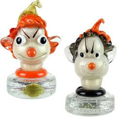 Barbini Murano Orange White Gold Flecks Italian Art Glass Elf Paperweights