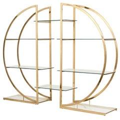 Milo Baughman Art Deco Brass Pair of Étagères Circular D Hollywood Regency Shelf