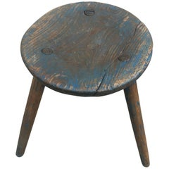 Blue Painted and Swedish Folk Art Three Legged Stool