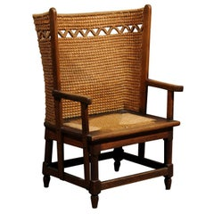 19th Century Scottish Orkney Chair with Handwoven Straw Back and Zigzag Patterns