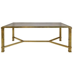 1970s French Bronze Coffee Table with Stretcher and Smoked Glass Top