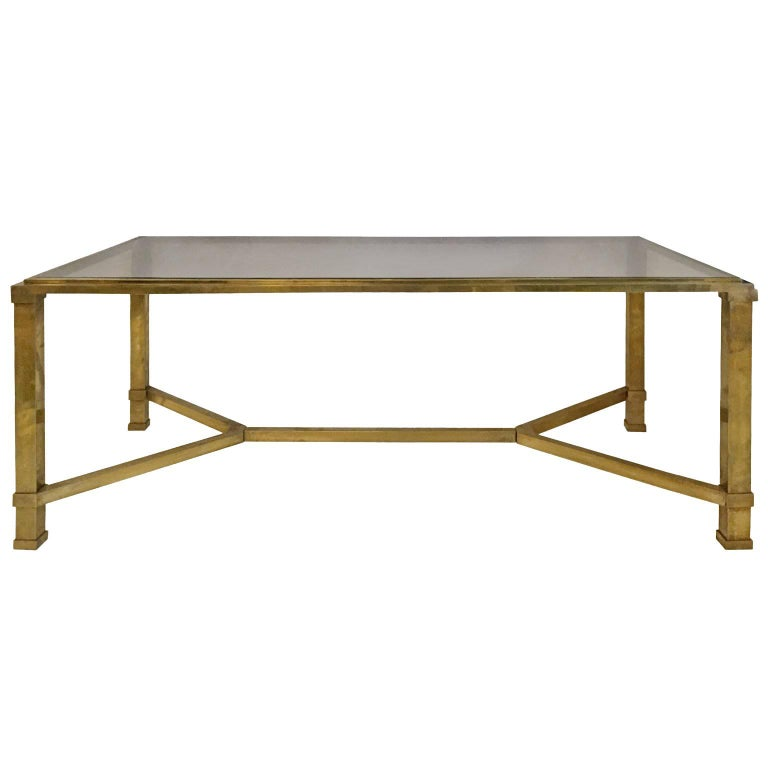 1970s French Bronze Coffee Table With Stretcher And Smoked Glass Top At 1stdibs