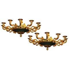 Matched Pair of French Empire Style Two-Tone Bronze Twelve-Light Chandeliers