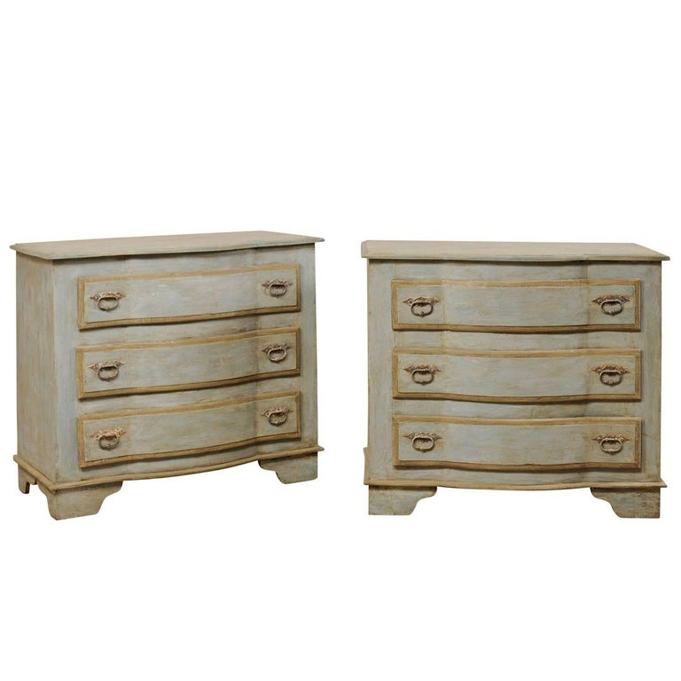 Pair of Painted Wood Three-Drawer Brazilian Chests in Soft Blue-Grey