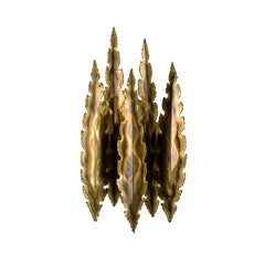 Type 5195, Large Brutalist Style Brass Wall Sconce by Holm Sorensen, 1960s