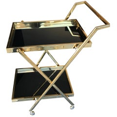 Brass Bar Trolley with Black Glass Shelves