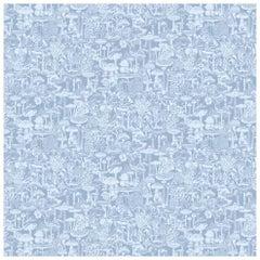 Mushroom City Designer Wallpaper in Color Glacial 'Powder Blue on Periwinkle'
