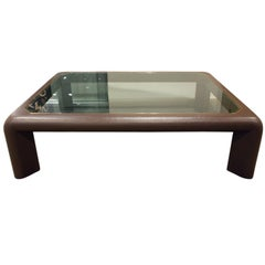 "Large Karl Springer ""Mark II Coffee Table"" in Lacquered Linen, 1980s"
