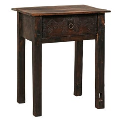 Unique Guatemalan Wood Side Table with Primitive Carved Horses and Single Drawer