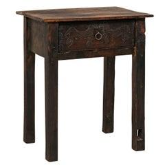 Unique Guatemalan Wood Side Table Carved w/ Primitive-Style Horse Motif