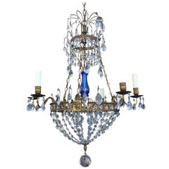 Early 20th Century Empire Style Bronze and Crystal Chandelier with Cobalt Blue
