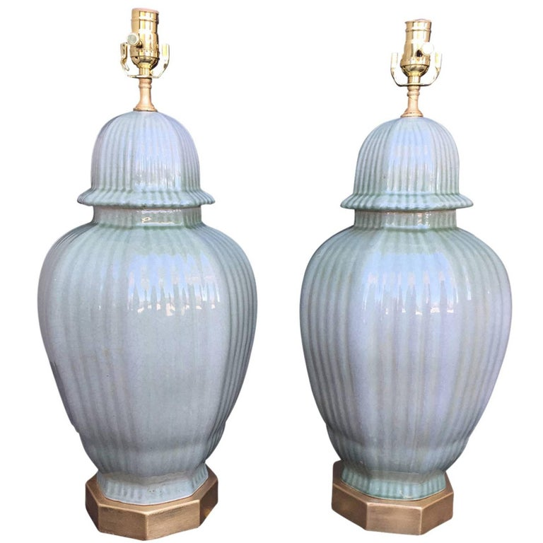 Pair of 20th Century Glazed Celadon Ginger Jars as Lamps, with Giltwood Bases