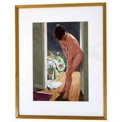 Contemporary Robert Schefman Original Watercolor Figurative Nude Signed