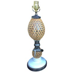 20th Century French Rattan Covered Glass Seltzer Bottle Lamp