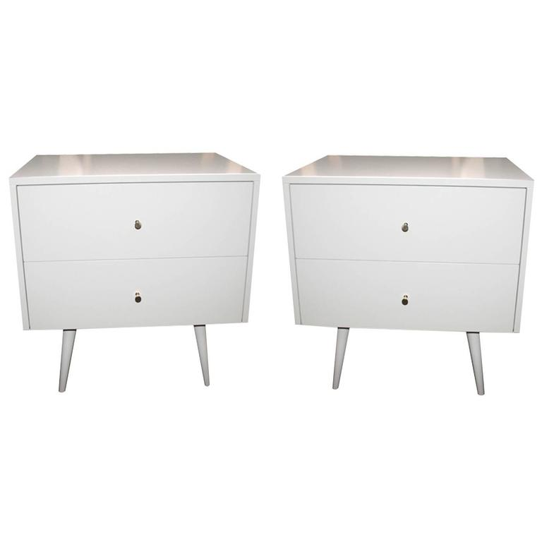 Lacquered Two-Drawer Nightstands on Turned Legs